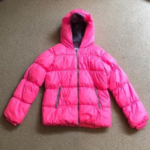 Bright pink snow jacket
